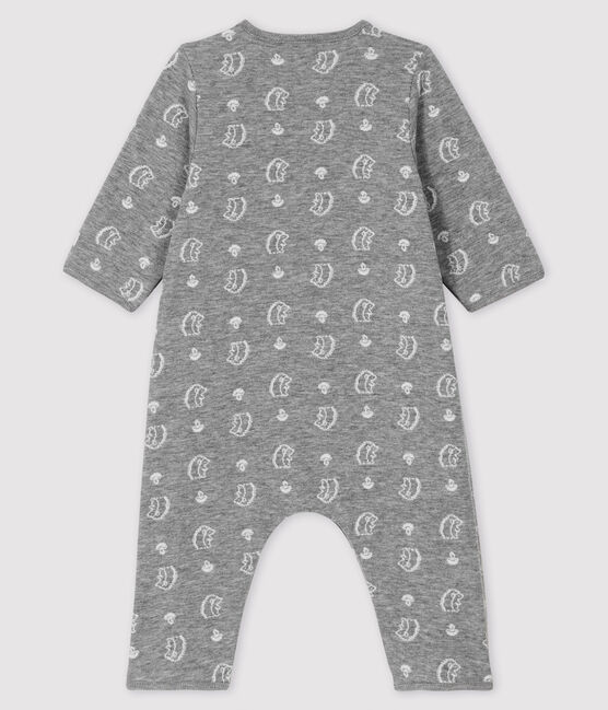 Baby-Langoverall mit Jacquard-Muster und Igel-Motiv aus Doppeljersey grau Subway / weiss Marshmallow