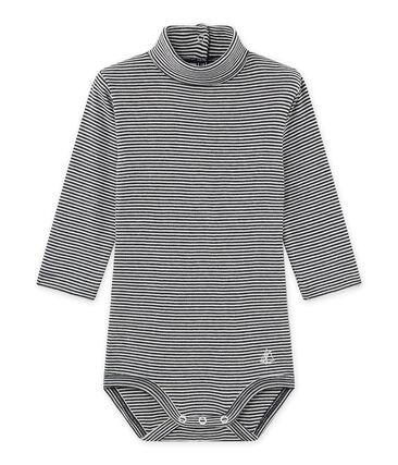 Unisex-Baby-Body mit Rollkragen im Milleraies-Ringelmuster blau Smoking / beige Coquille
