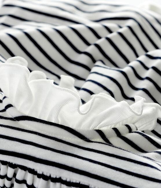 Kurzärmeliges Bodykleid aus Rippstrick für Babys weiss Marshmallow / blau Smoking
