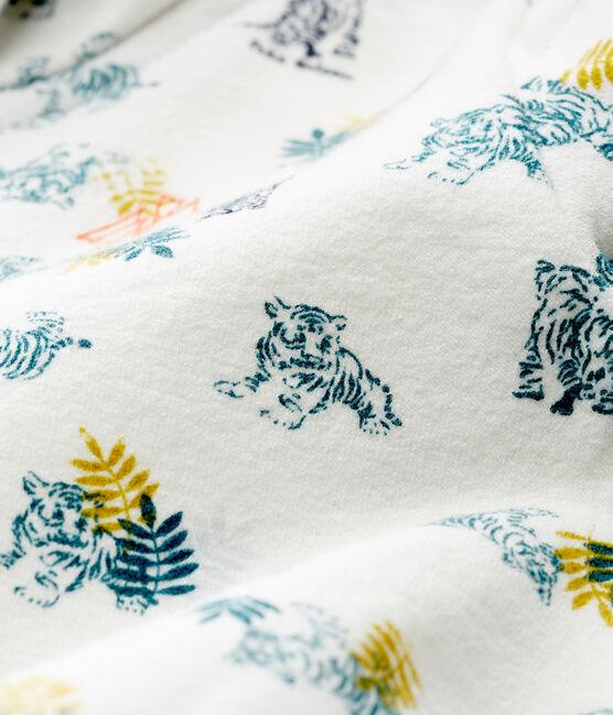 Gemustertes baby-kapuzenSweatshirt mit reissverschluss jungen weiss Marshmallow / weiss Multico