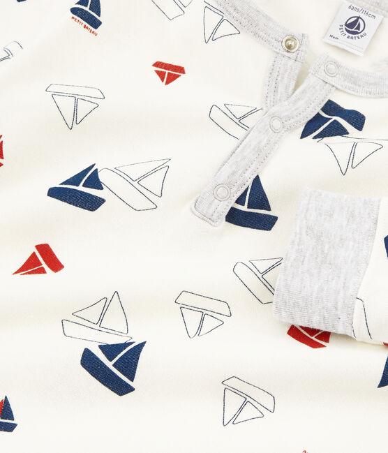 Molton-Pyjama für kleine Jungen weiss Marshmallow / weiss Multico