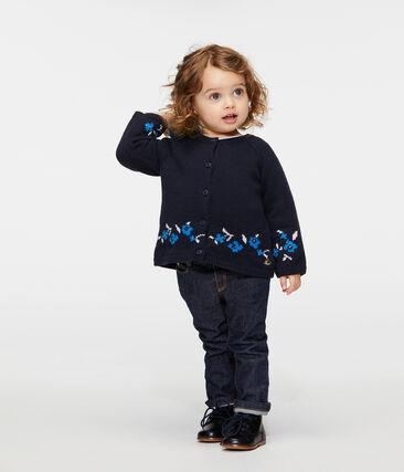 Baby-Cardigan aus Woll-/Baumwollstrick für Mädchen blau Smoking / weiss Multico