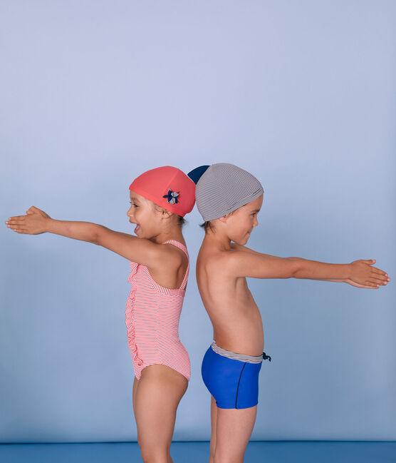 Kinder-Bademütze Jungen blau Abysse / weiss Lait