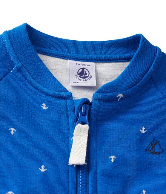 Cardigan bébé garçon en tubique blau Delft / weiss Lait