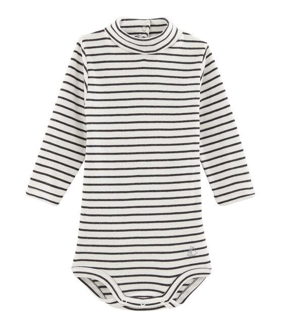 Langärmeliger Baby-Body mit Rollkragen, Unisex weiss Marshmallow / schwarz City
