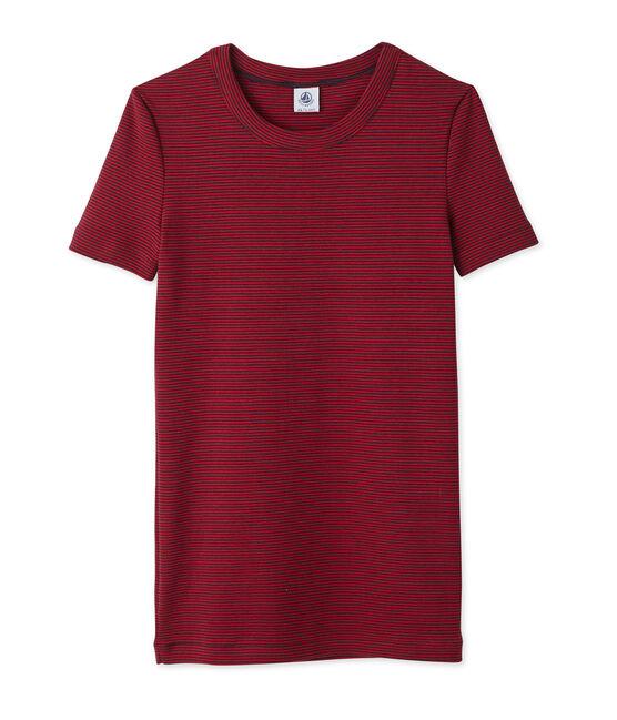 Damen-T-Shirt mit Milleraies-Ringelmuster blau Smoking / rot Mars
