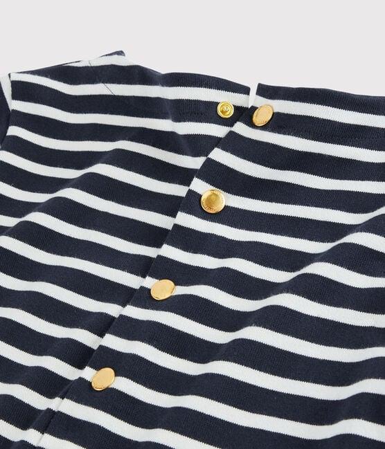 Streifenkleid für Damen blau Smoking / weiss Marshmallow