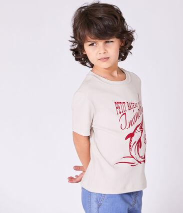 Jungen-T-Shirt mit Motiv weiss Feta