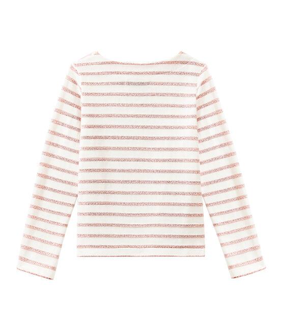 Glitzerndes Mädchen-Streifenshirt weiss Marshmallow / rosa Joli Brillant