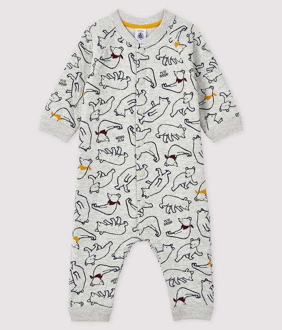 Langer Baby-Overall für Jungen grau Beluga / weiss Multico