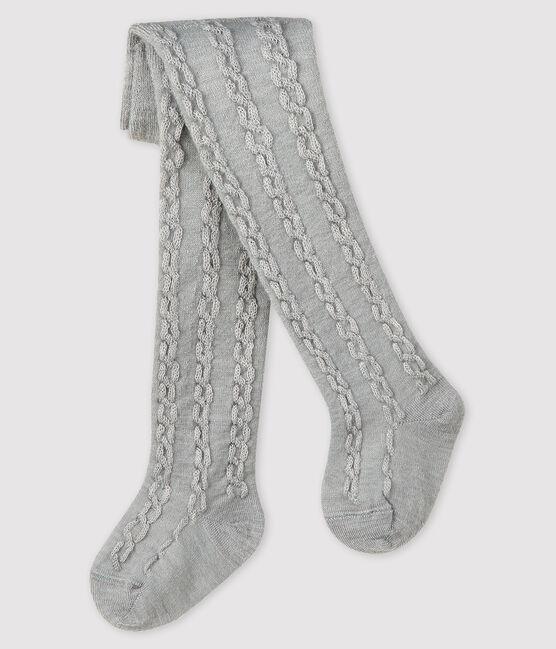 Baby-Strumpfhose aus Wolle für Mädchen grau Beluga