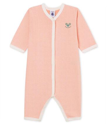 Baby-Strampler in Rippstrick für Mädchen rosa Rosako / weiss Marshmallow