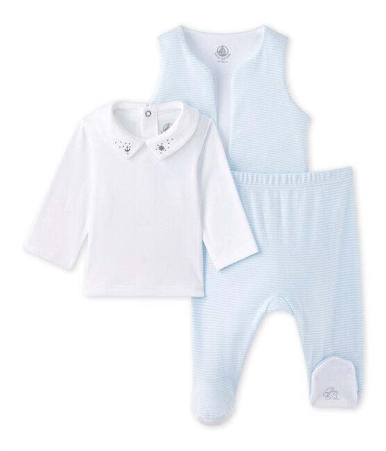 Dreiteiliges Baby-Jungen-Set blau Fraicheur / weiss Ecume