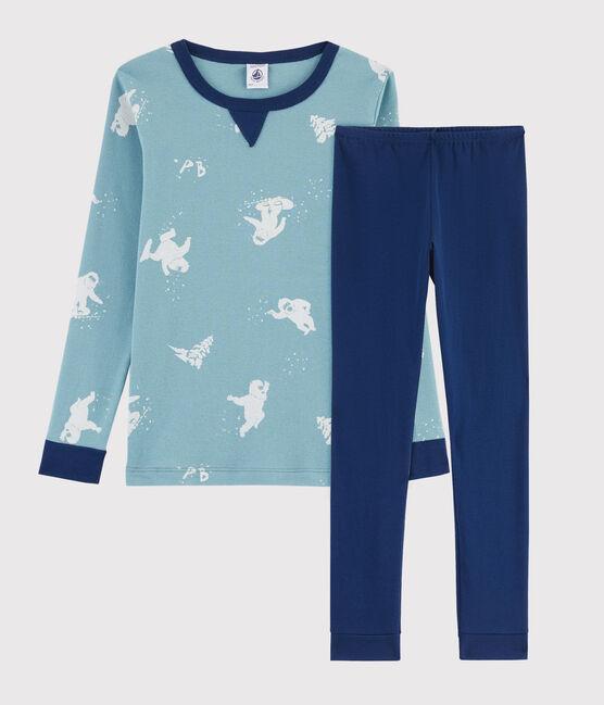 Snugfit-Pyjama aus Rippstrick mit Yeti-Print für kleine Jungen blau Medieval / weiss Multico