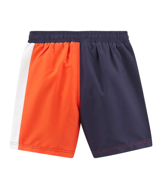 Strandshorts mit Colorblock-Effekt Kinder Jungen blau Touareg / orange Spicy