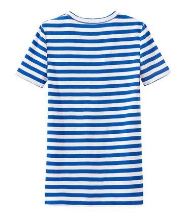 Gestreiftes Damen-T-Shirt aus Original-Rippstrick blau Perse / weiss Marshmallow