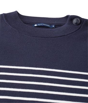 Seemannspullover mit platziertem Streifen für Herren blau Smoking / weiss Lait