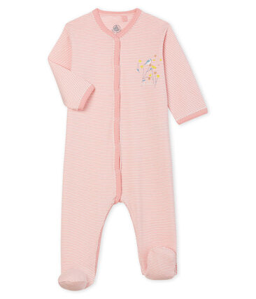 Baby-Strampler aus Rippstrick für Mädchen rosa Charme / weiss Marshmallow