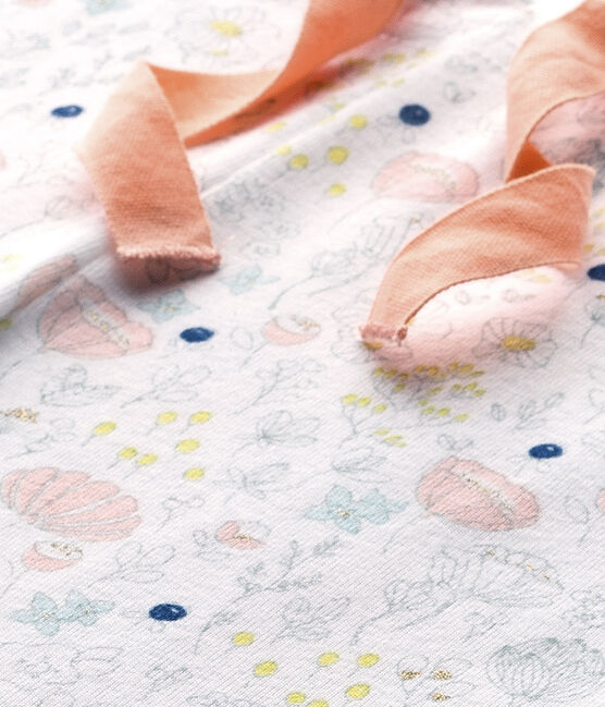 Bedruckte Mädchen-Schlafanzughose zum Kombinieren weiss Ecume / rosa Rose