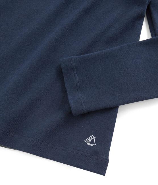 T-Shirt für Mädchen mit Bubikragen blau Haddock