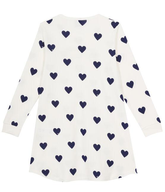 Rippstrick-Nachthemd für Mädchen weiss Marshmallow / blau Medieval