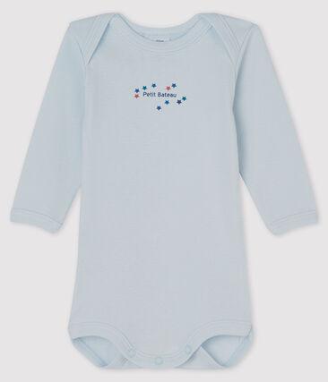 Langärmliger Baby-Body für Jungen-Mädchen blau Fraicheur