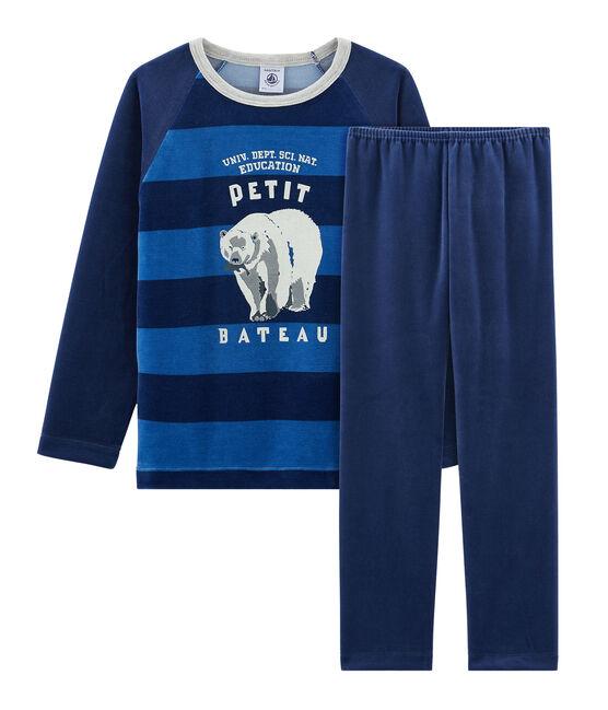 Samt-Pyjama für kleine Jungen blau Medieval / blau Major