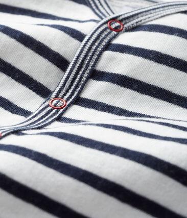 Baby-Strampler ohne Fuß aus Doppelersey für Jungen weiss Marshmallow / blau Smoking