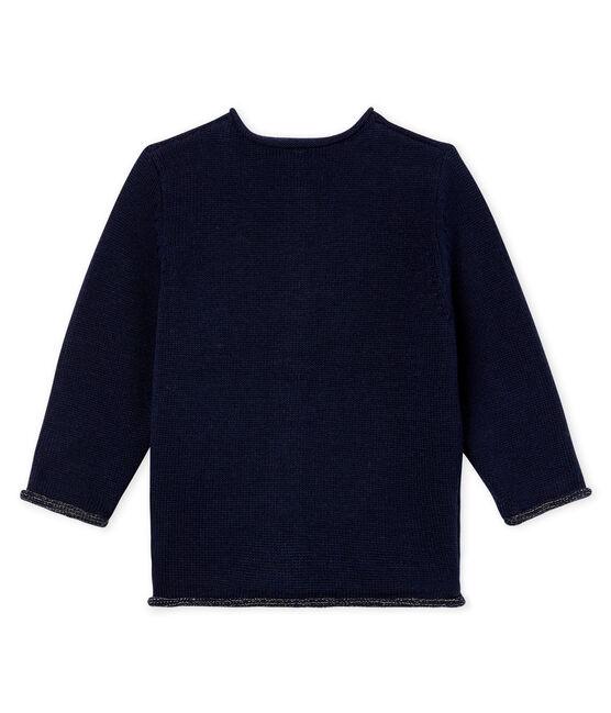 Basic-Baby-Cardigan aus Woll-/Baumwollstrick für Mädchen blau Smoking