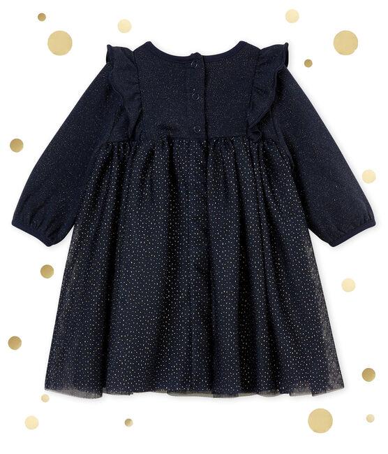 Baby MädchenKleid mit Pailletten blau Smoking / gelb Dore