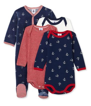Jungen-Baby-Set mit Samt-Strampler und langärmligen Bodys aus Rippstrick