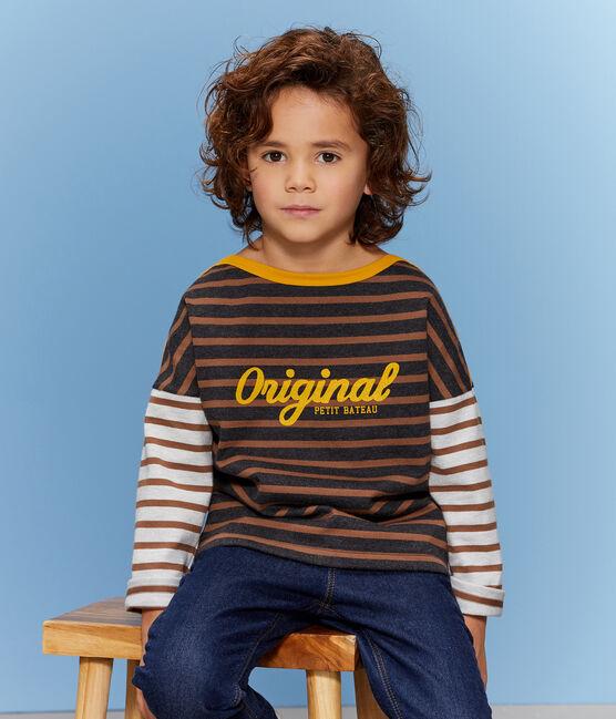 Kinder-Streifenshirt Jungen schwarz City / braun Cocoa