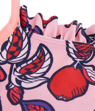 Einteiliger Badeanzug für Mädchen, LSF 50+ rosa Patience / weiss Multico