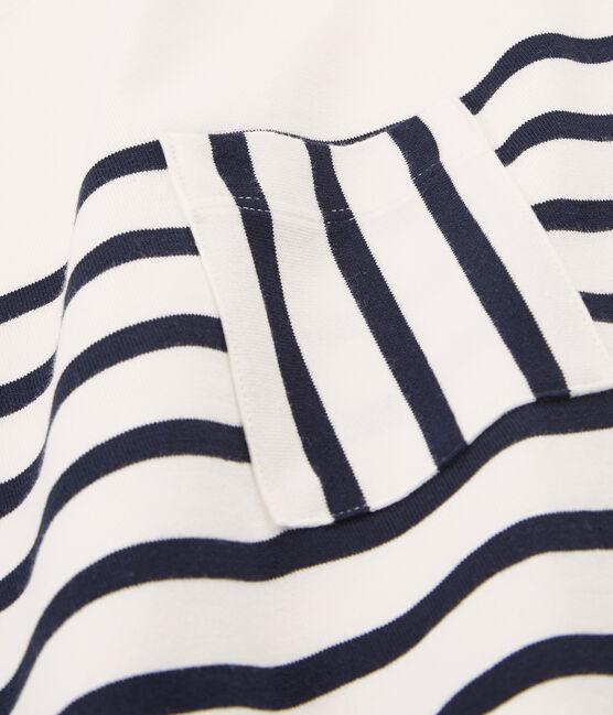 Kurzärmeliges kleid damen weiss Marshmallow / blau Smoking