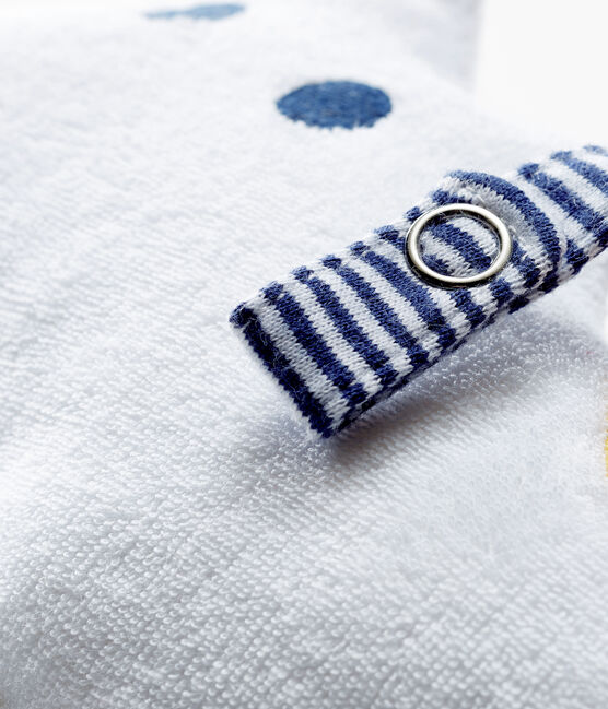 Kuscheltier mit Schnullerlasche aus Bouclé-Frottier für Jungen weiss Marshmallow