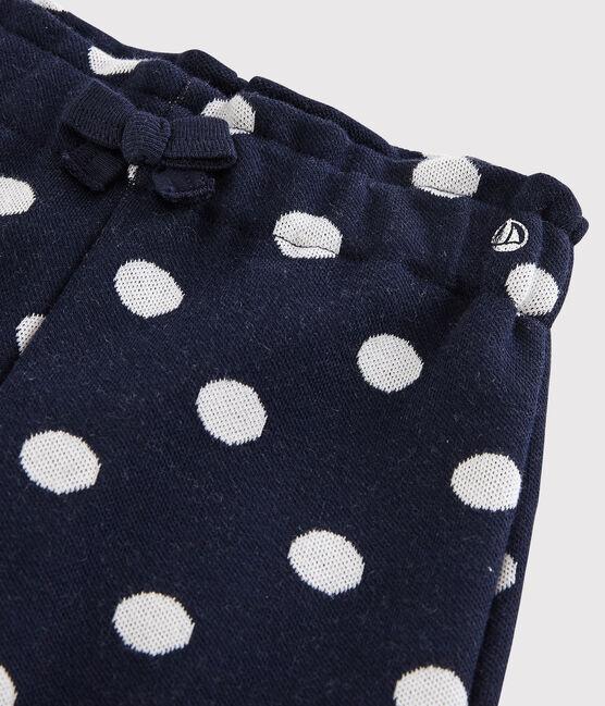 Baby-Hose für Mädchen mit Punkten blau Smoking / weiss Marshmallow