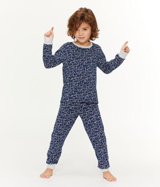 Molton-Pyjama für kleine Jungen blau Major / weiss Marshmallow