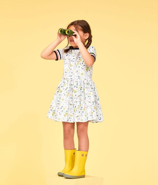 Kinder-Kleid für Mädchen weiss Marshmallow / weiss Multico