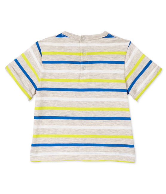 Gestreiftes Baby-Jungen-T-Shirt beige Creamy / weiss Multico