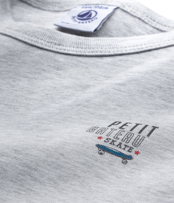 Jungen-T-Shirt mit Motiv grau Poussiere Chine