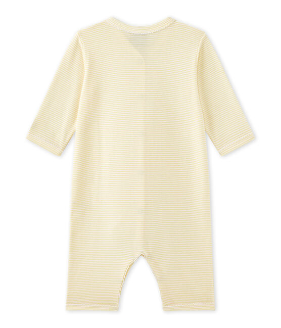 Baby-Mädchen-Strampler ohne Fuß mit Milleraies-Ringelmuster gelb Pamplemousse / weiss Ecume