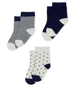 3er-Set Babystrümpfe für Jungen grau Beluga / blau Smoking