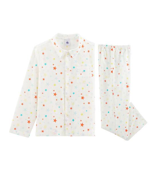 Twill-Pyjama für kleine Jungen weiss Marshmallow / weiss Multico