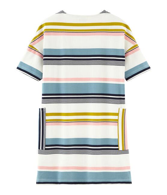 Kurzärmeliges kleid damen weiss Marshmallow / weiss Multico