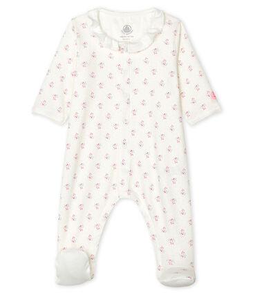 Baby-Strampler aus Rippstrick für Mädchen weiss Marshmallow / weiss Multico