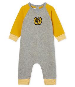 Baby-Langoverall aus Molton für Jungen grau Subway / gelb Boudor