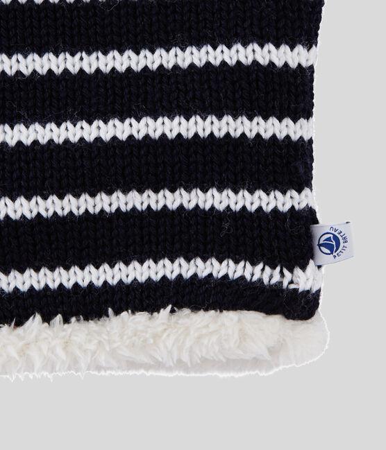 Kinder-Schlauchschal für Mädchen und Jungen blau Smoking / weiss Marshmallow