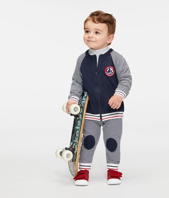Baby-Cardigan aus Doppeljersey mit Reißverschluss für Jungen blau Smoking / weiss Marshmallow