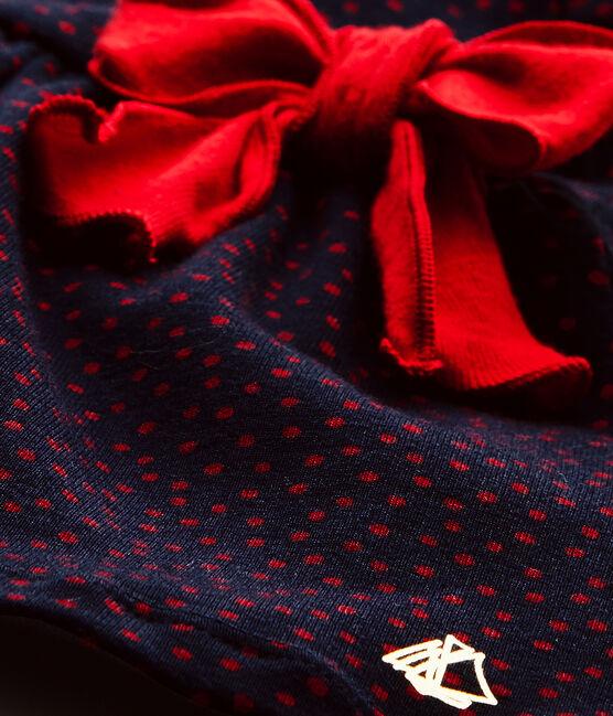 Bedrucktes Baby-Mädchen-Kleid blau Smoking / rot Terkuit
