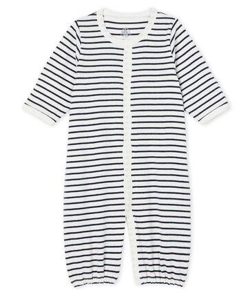 Kombi-Overall aus Rippstrick für Babys weiss Marshmallow / blau Smoking